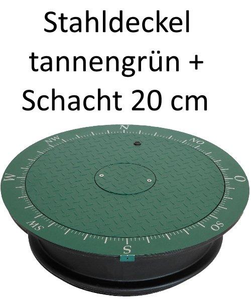 Stahldeckel TWIN tannengrün + Schacht 20 cm