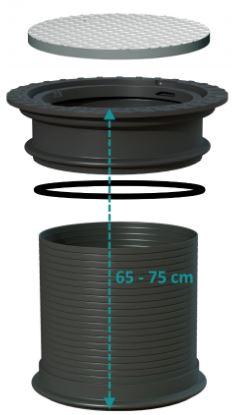 Stahldeckel befahrbar 2,2 t Achslast + Zwischenring + Schacht 20 cm