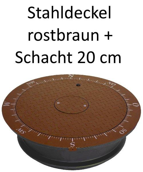 Stahldeckel TWIN rostbraun + Schacht 20 cm