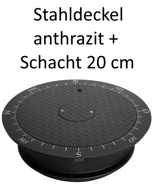 Stahldeckel TWIN anthrazit + Schacht 20 cm